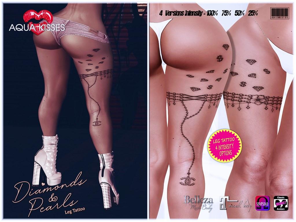 Aqua Kisses Diamond & Pearls Tattoo