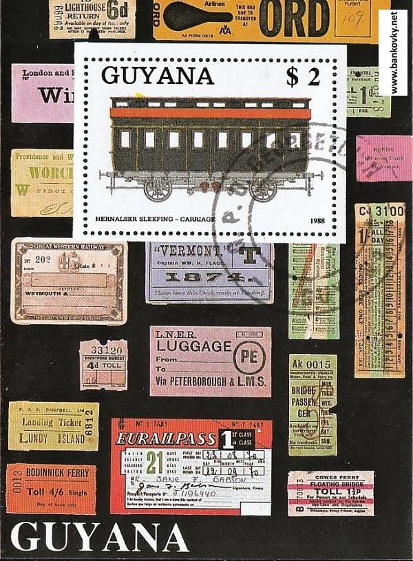 Známky Guyana 1989 Železnica razítkovaný hárček