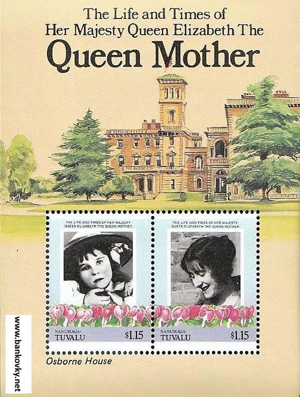 Známky Tuvalu Nanumaga 1985 Kráľovna matka MNH hárček