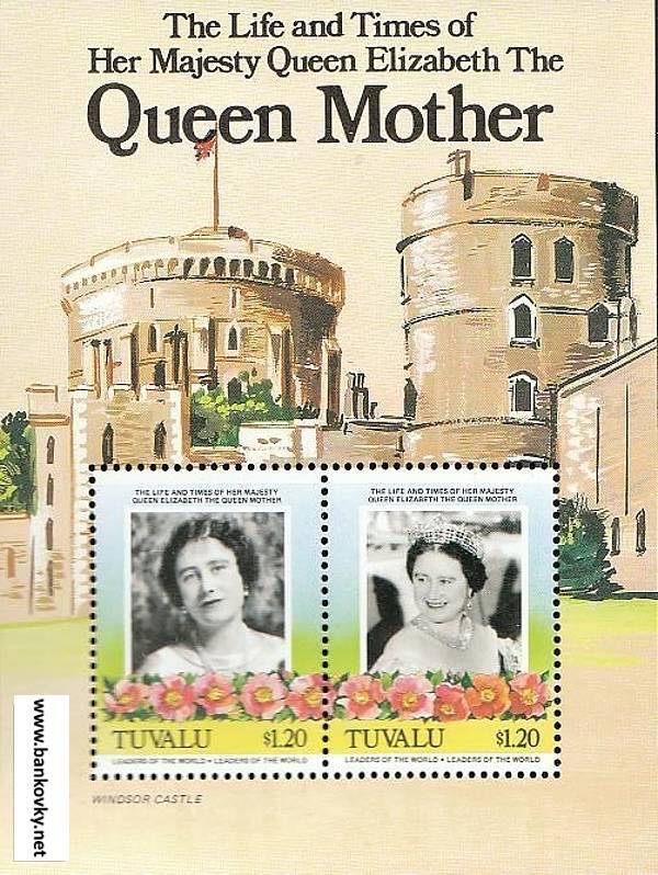 Známky Tuvalu 1985 Kráľovna matka MNH hárček