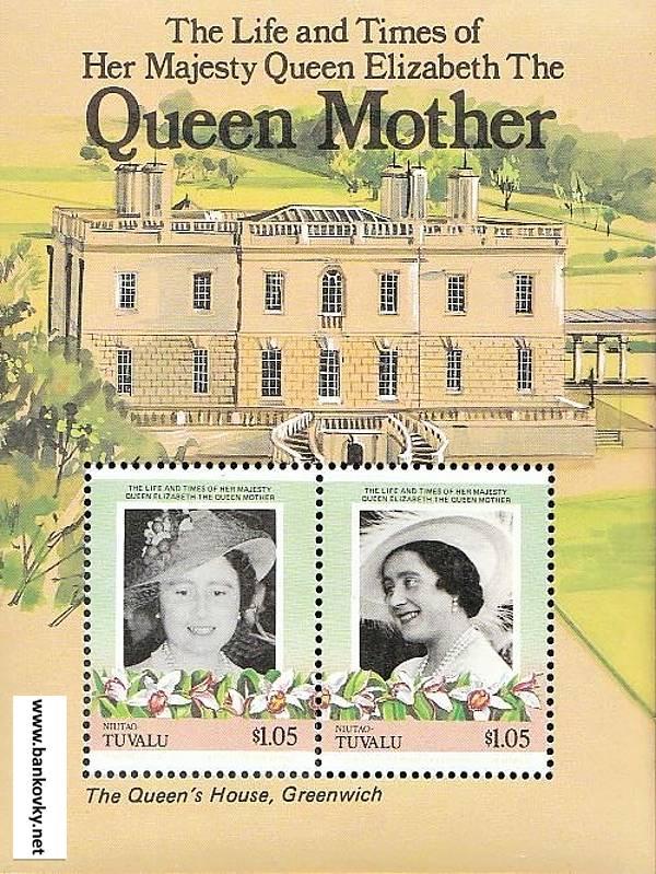 Známky Tuvalu Niutao 1985 Kráľovna matka MNH hárček