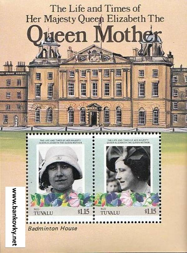 Známky Tuvalu Nui 1985 Kráľovna matka MNH hárček