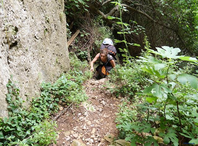 Mont-Ral -01- Vall del Riu Glorieta -04- Subsector Els Gegants per Dins y Paret del Grèvol -01- Acceso -02- Shan superando el primer repecho (04-07-2021)