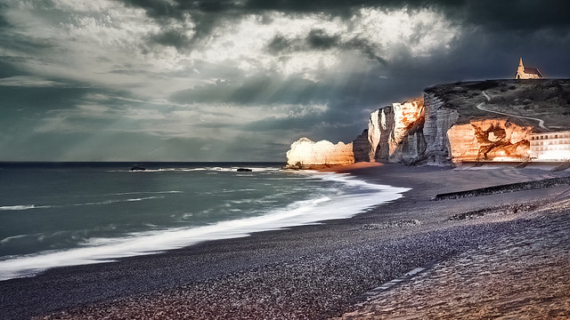 Stormy Etretat, Normandy Coast, France