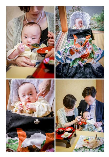 親子3人でお食い初めの儀式 和食店