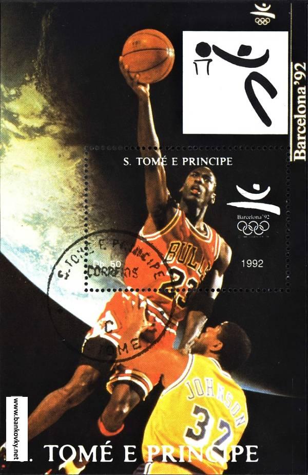 Známky Sv. Tomáš 1992 Michael Jordan razítk. hárček