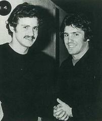 Temporada 1977/78: Satrústegui, jugador de la Real Sociedad, y Santillana, jugador del Real Madrid