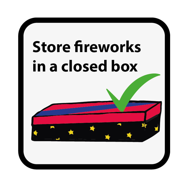KEEP FIREWORKS IN A CLOSED BOX
