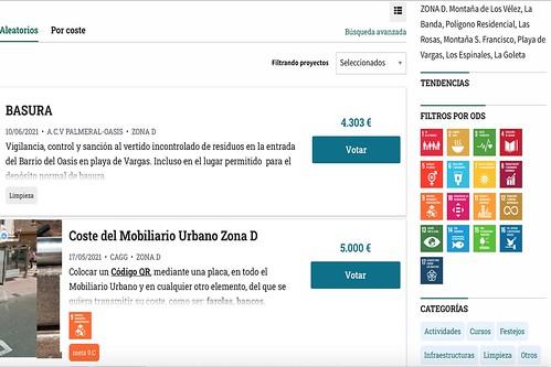 Captura de la plataforma decide.aguimes.es de los Presupuestos Participativos del Ayuntamiento de Agüimes