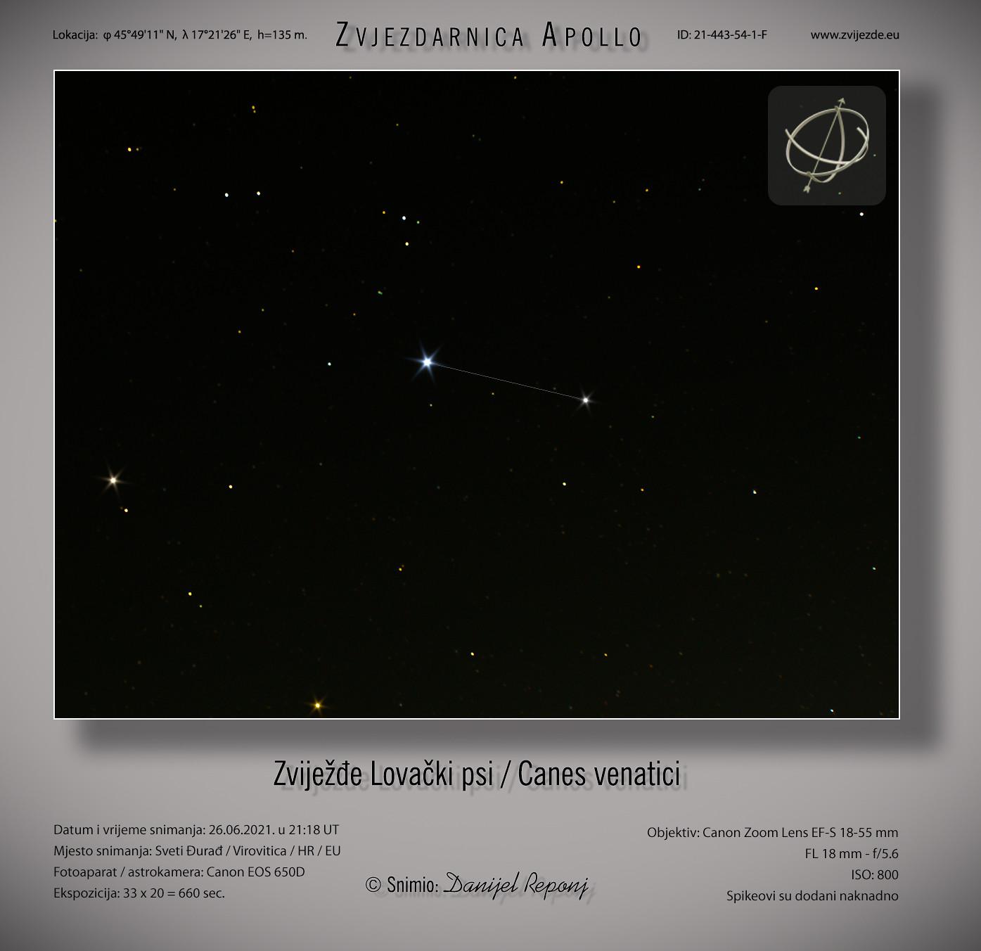 Zviježđe Lovački psi, 26.6.2021.