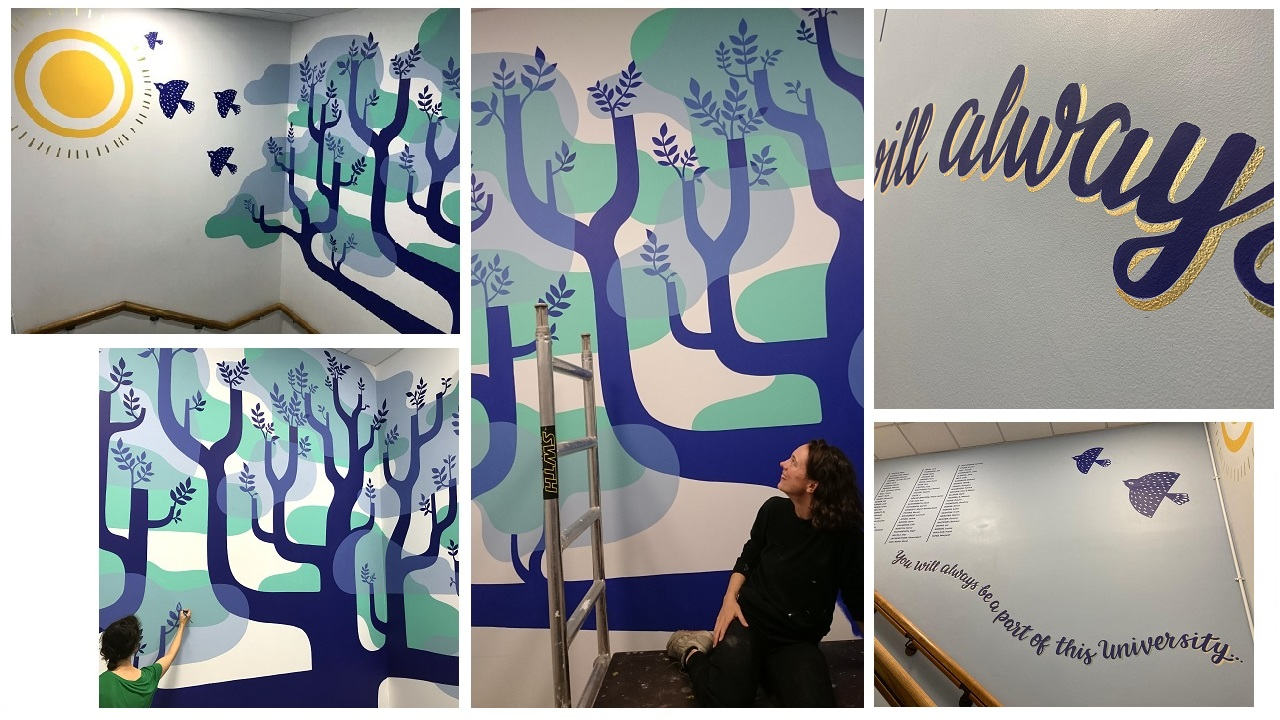 Images of a painted tree mural