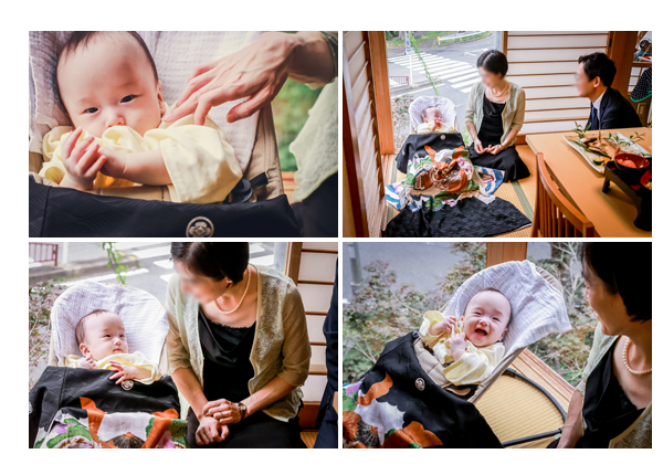 夏の100日祝い 和食店にて ニッコリする赤ちゃん