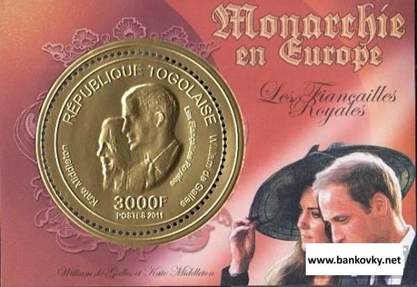 Známky Togo 2011 Európske monarchie