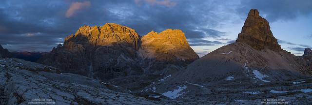 Beauty of the dolomites – Sunset at Schusterplatte, Innichriedlknoten and Toblinger Knoten