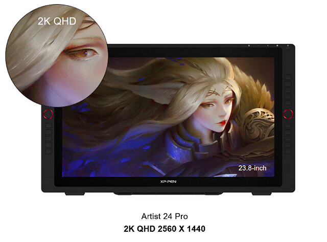 xp-pen artist 24 pro drawing tablet come with 2k resolution
