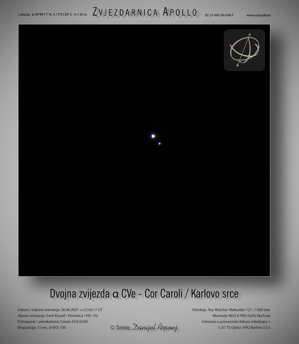 Dvojna zvijezda α CVe - Cor Caroli, 26.6.2021.