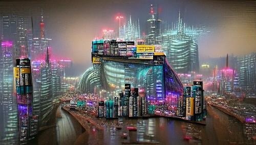 a hyperrealistic cyberpunk cityscape