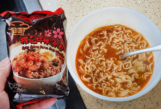 red chef spicy sakura prawn soup noodles review