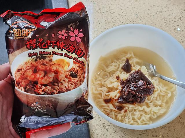 red chef spicy sakura prawn noodles