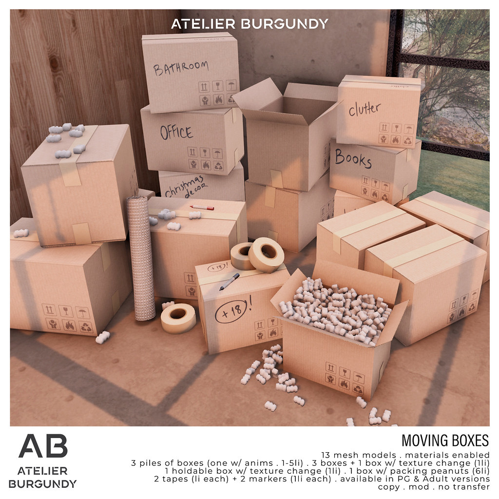 Atelier Burgundy . Moving Boxes
