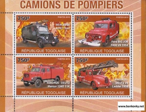 Známky Togo 2010 Hasičské autá