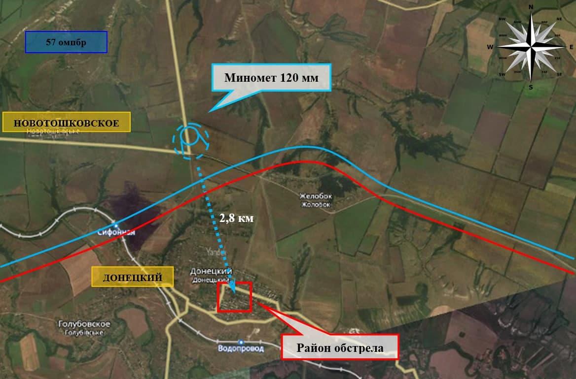 Carte du bombardement de Donetski par l'armée ukrainienne