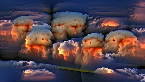 cumulonimbus clouds at sunset