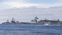 HMAS Brisbane (DDG 41), ROKS Wang Geon (DDH 978), USS Rafael Peralta (DDG 115) and JS Makinami (DD 112) sail together, July 8. (RAN/LSIS Daniel Goodman)