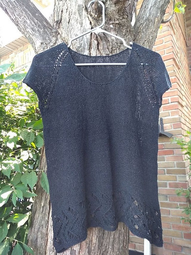 Rita (ritz) just finished Arrows Tee by SweaterFreak (test knitting) using Shibui Reed in Abyss.