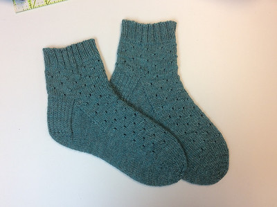 Ann finished her first pair of cuff down magic loop socks! Pattern by Kay F Jones (Bakery Bears)