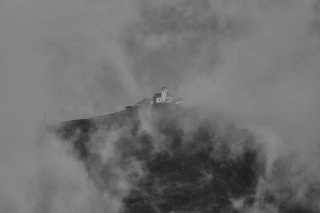 B&W Mountain Church in the Mystical Clouds ☁️
