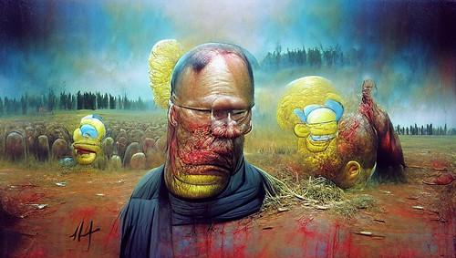 homer simpson as painted by beksinski