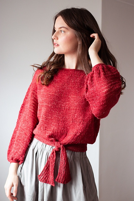 Erinome sweater by Lily Kate France (lilykate) is a breezy sweater for breezy days - light, airy and super stylish! Designed and knit in The Fibre Co Meadow, shown in Red Clover.
