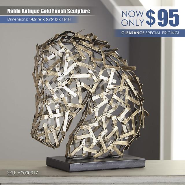 Nahla Antique Gold Sculpture_A2000317
