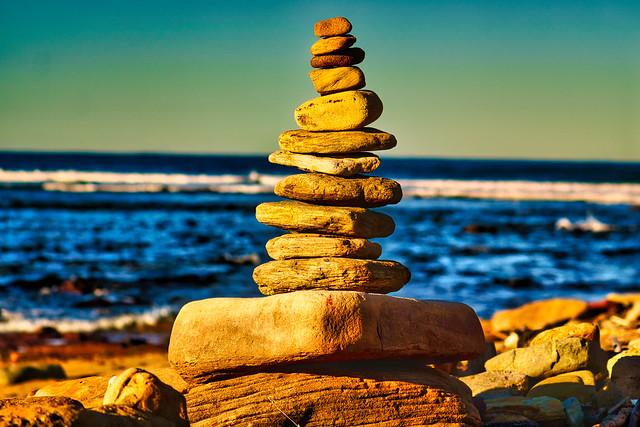 Stacked rocks at sunrise