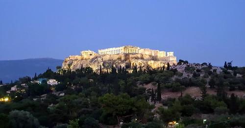 acropolis evening athens greece trees lights