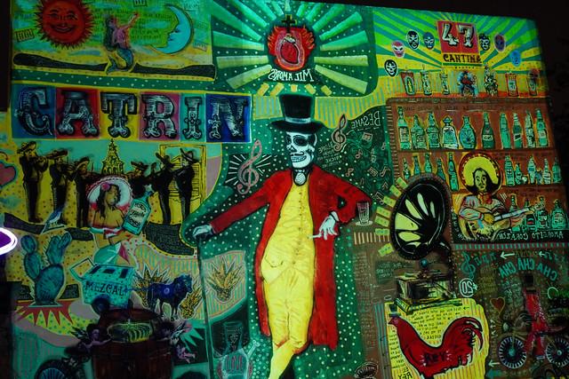 amazing backyard mural at Catrin Cantina