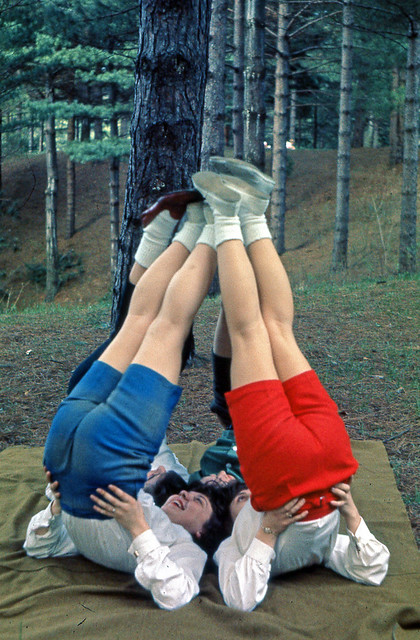 Slide of Group of Girls with Legs Up, 1950s