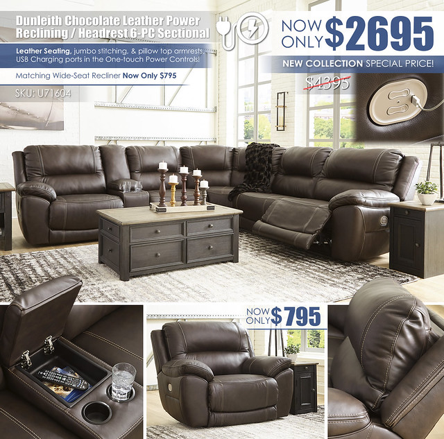 Dunleith Chocolate Power Reclining 6PC Sectional_U71604-58-57-31-77-46-62-T736
