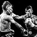 Black and white boxing action