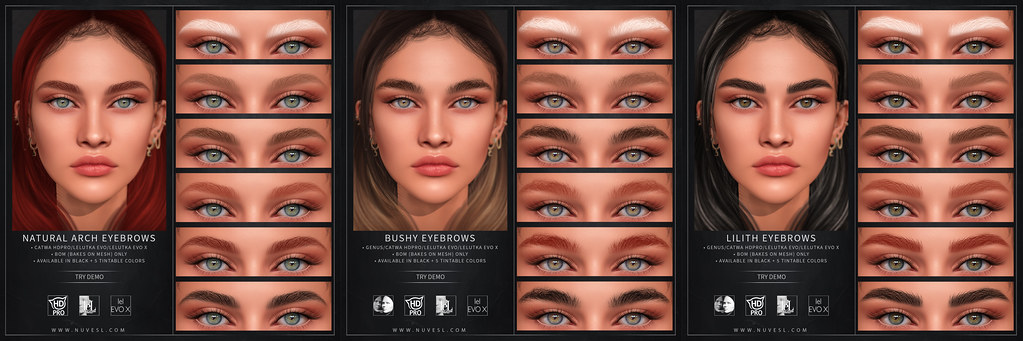 BOM eyebrows – Natural arch (New), Bushy + Lilith updated to Evo X