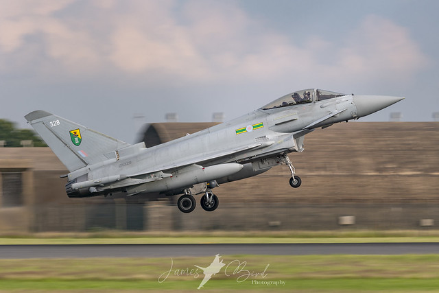 RAF Typhoon FGR4 ZK328 in 3 Squadron markings taking off as Chaos 11 from RAF Coningsby