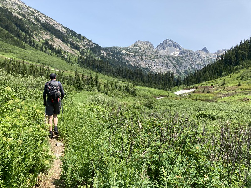Tobias leading the way into the upper Fisher Creek basin