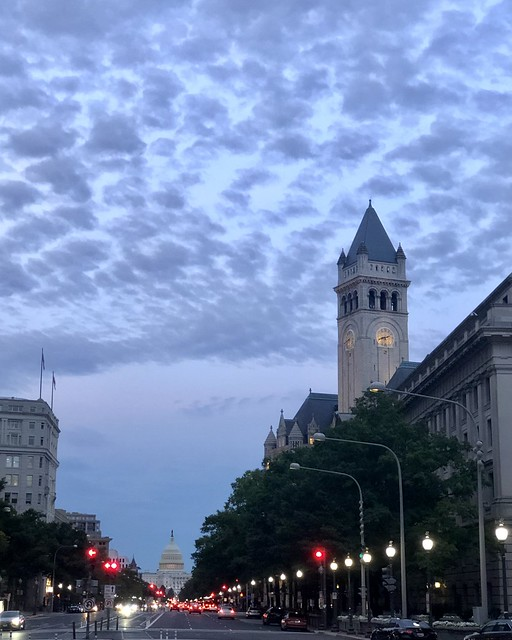 Pennsylvania Avenue, tower of Old Post Office and view to U.S. Capitol, July evening, Washington, D.C.