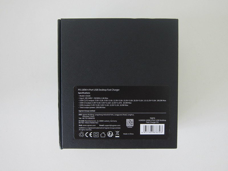 Ugreen 4-Port PD 100W Charger - Box Back