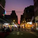 Purple and Persimmon Sunset over Taipei Night Market