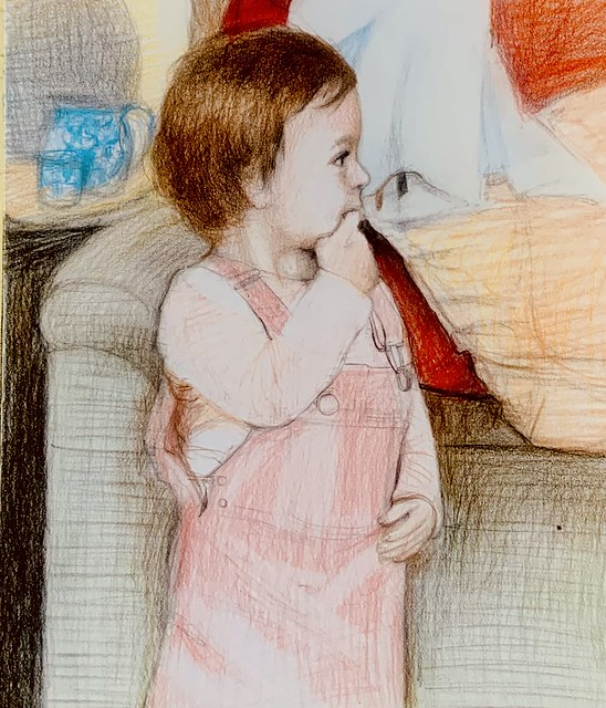 Portrait of Phoebe Worsfold. Coloured pencil only drawing by jmsw on card.
