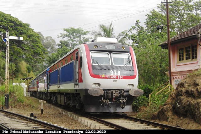 S14 978 passing Peradeniya with Denuwara Menike Intercity Express (No 1002 Badulla - Colombo Fort) in 22.02.2020