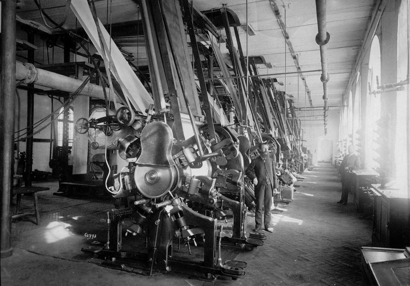 Вид одного из цехов фабрики Трехгорной Прохоровской мануфактуры