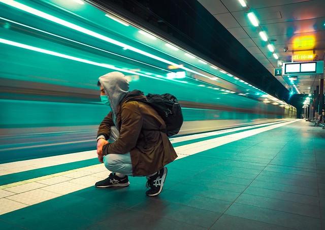 Myself - winter 2021 Newtown Sydney - passing train long exposure - sonya6300